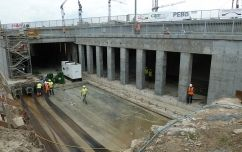 Construction of Nowolazurowa street.  Implementation of surface drainage for pulling on the tunnel under the railway operation.