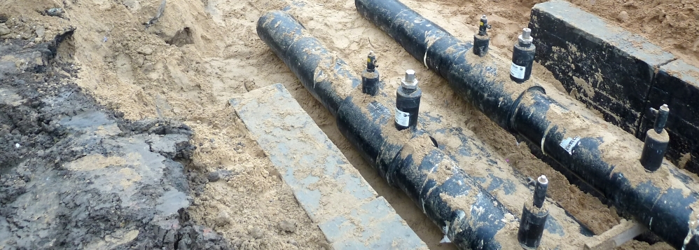 Heat distribution network - Preinsulated steel pipes 2xDN500/710 technology with alarm systems Brandes